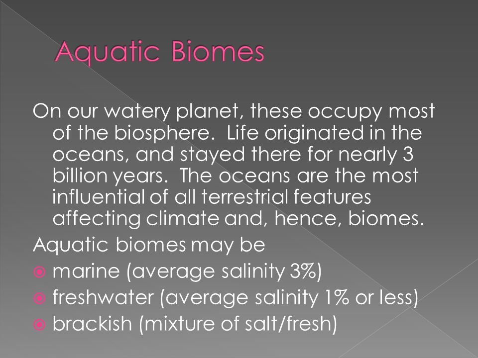 On our watery planet, these occupy most of the biosphere.