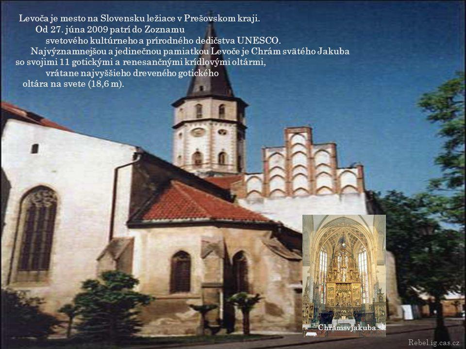 Levoča je mesto na Slovensku ležiace v Prešovskom kraji. Od 27. júna 2009 patrí do Zoznamu svetového kultúrneho a prírodného dedičstva UNESCO. Najvýzn