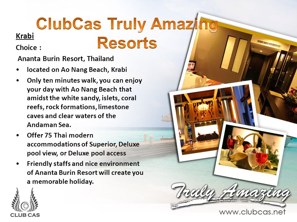 Krabi Choice : Ananta Burin Resort, Thailand located on Ao Nang Beach, Krabi Only ten minutes walk, you can enjoy your day with Ao Nang Beach that ami