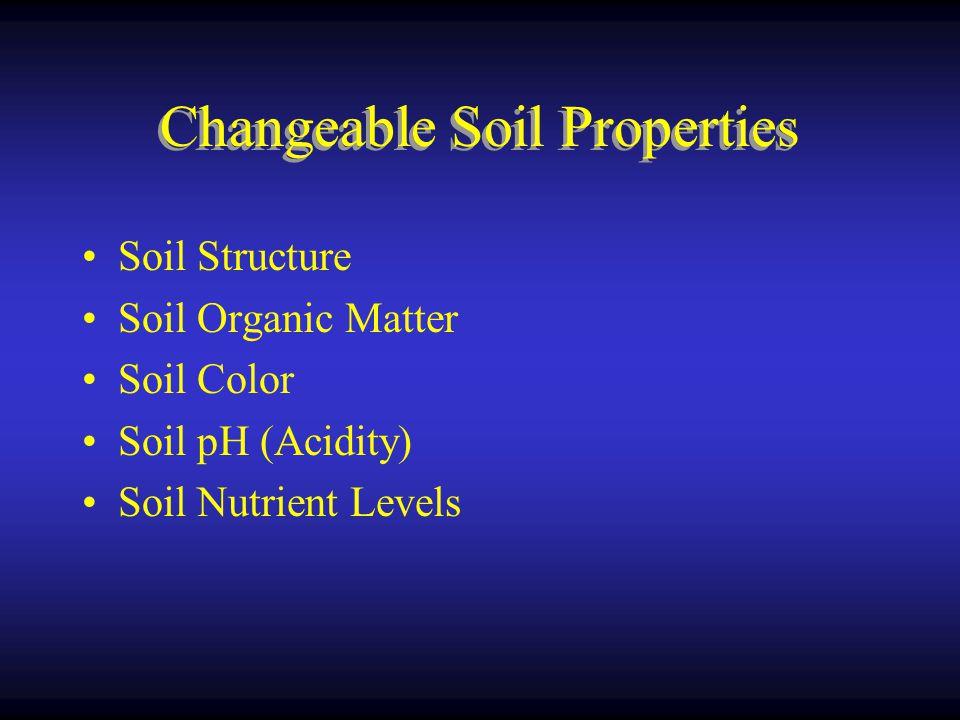 Changeable Soil Properties Soil Structure Soil Organic Matter Soil Color Soil pH (Acidity) Soil Nutrient Levels