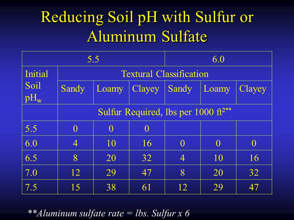 Reducing Soil pH with Sulfur or Aluminum Sulfate 5.56.0 Initial Soil pH w Textural Classification SandyLoamyClayeySandyLoamyClayey Sulfur Required, lbs per 1000 ft 2** 5.5000 6.041016000 6.58203241016 7.012294782032 7.5153861122947 **Aluminum sulfate rate = lbs.