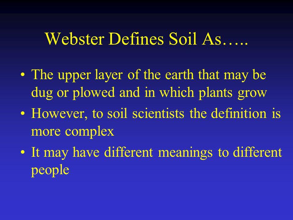 Webster Defines Soil As…..