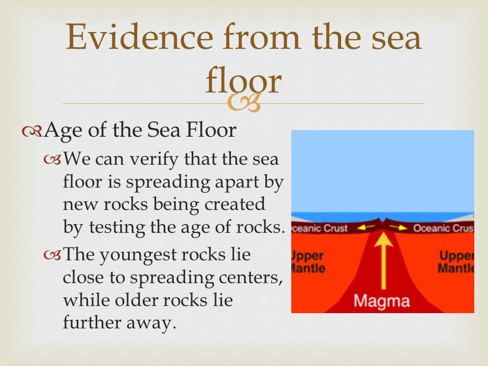   Age of the Sea Floor  We can verify that the sea floor is spreading apart by new rocks being created by testing the age of rocks.  The youngest