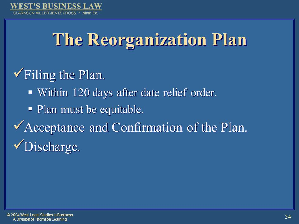 © 2004 West Legal Studies in Business A Division of Thomson Learning 34 The Reorganization Plan Filing the Plan.