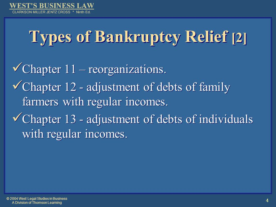 © 2004 West Legal Studies in Business A Division of Thomson Learning 35 §4: Additional Forms of Bankruptcy Relief Chapter 13: Individuals' Repayment Plans.