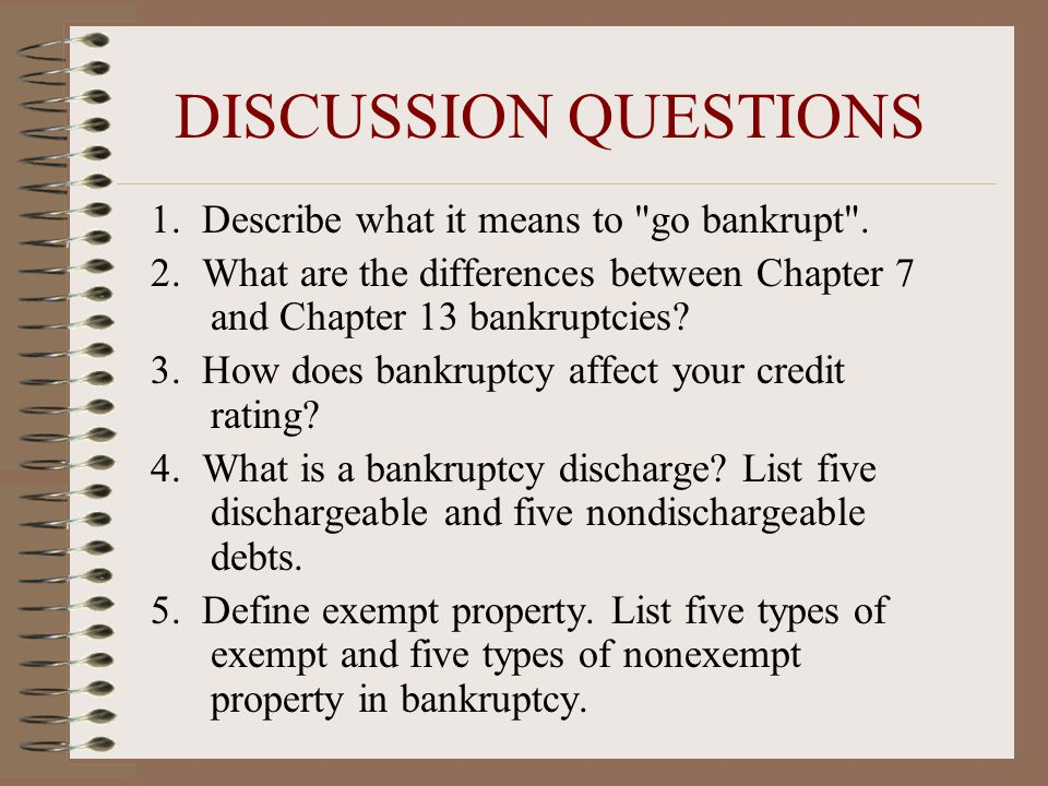 DISCUSSION QUESTIONS 1. Describe what it means to go bankrupt .
