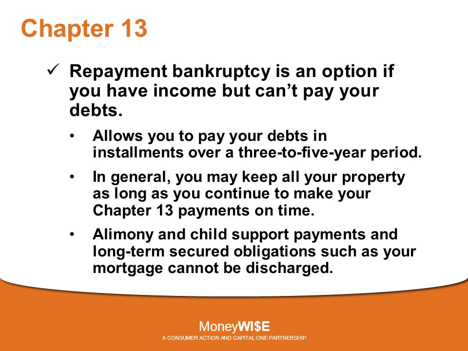 Chapter 13 Repayment bankruptcy is an option if you have income but can't pay your debts.