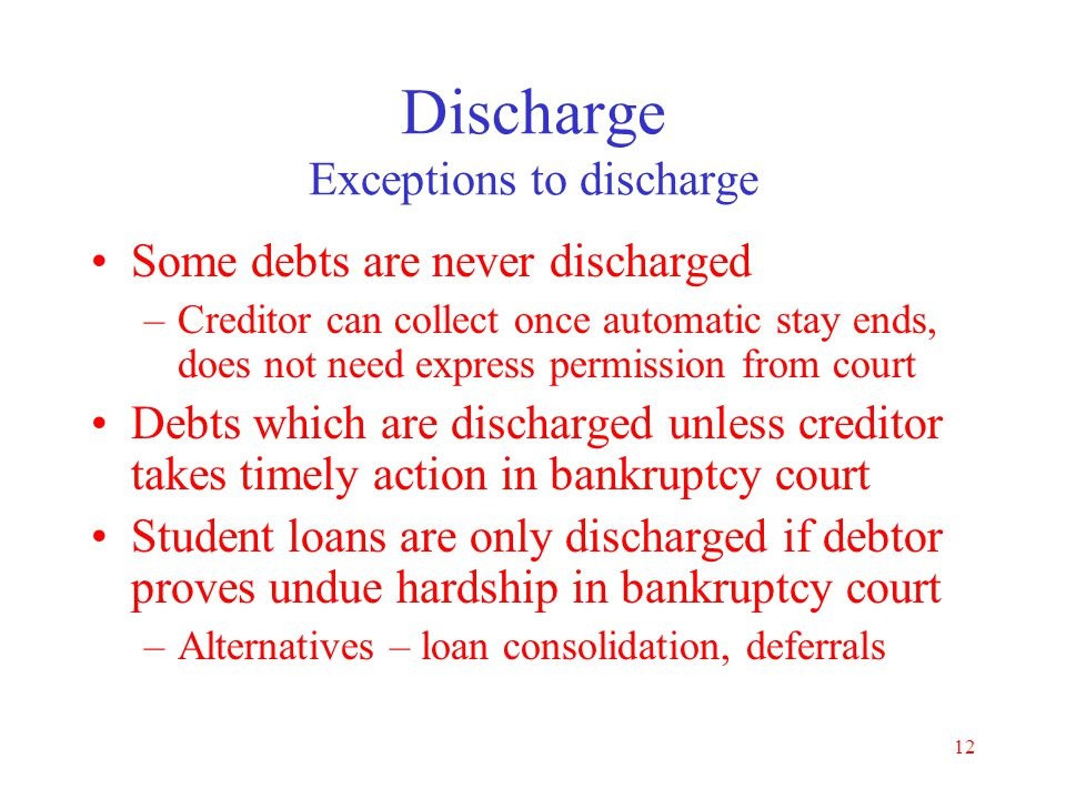 11 Discharge Fresh start Utility service –Cannot be denied because of dischargeable debt –Must pay deposit but not old bill –If stolen service, Chapte
