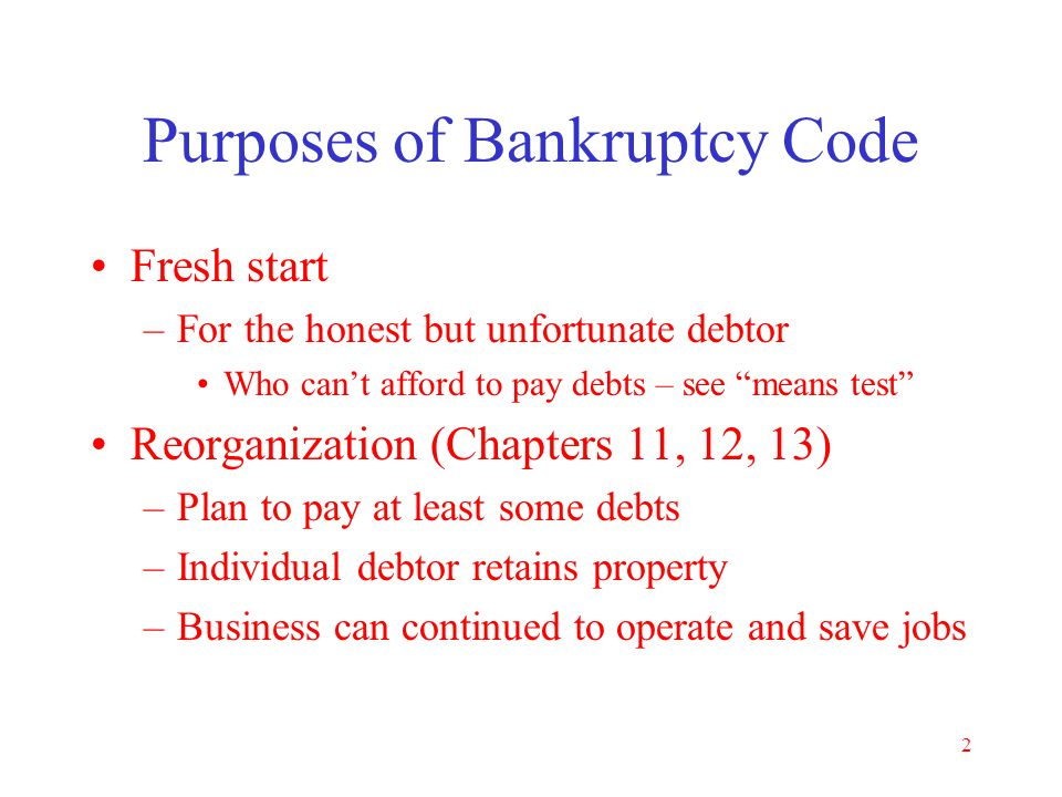1 Basic Bankruptcy Is filing bankruptcy the best solution? If so, Chapter 7 or Chapter 13? When should case be filed? –Pre-bankruptcy planning How to