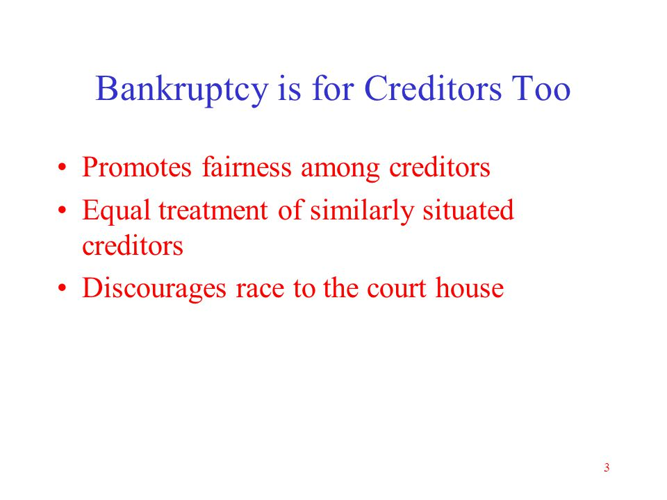 "2 Purposes of Bankruptcy Code Fresh start –For the honest but unfortunate debtor Who can't afford to pay debts – see ""means test"" Reorganization (Chap"