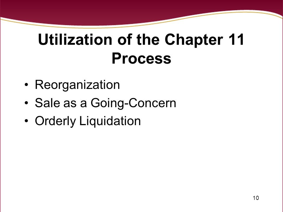 10 Utilization of the Chapter 11 Process Reorganization Sale as a Going-Concern Orderly Liquidation