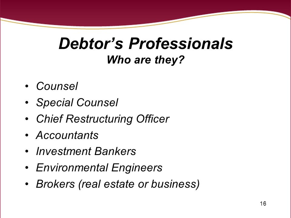 16 Debtor's Professionals Who are they? Counsel Special Counsel Chief Restructuring Officer Accountants Investment Bankers Environmental Engineers Bro