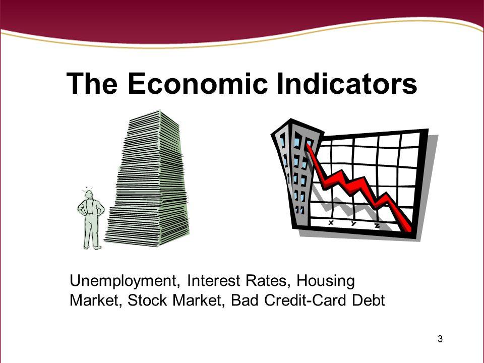 3 The Economic Indicators Unemployment, Interest Rates, Housing Market, Stock Market, Bad Credit-Card Debt