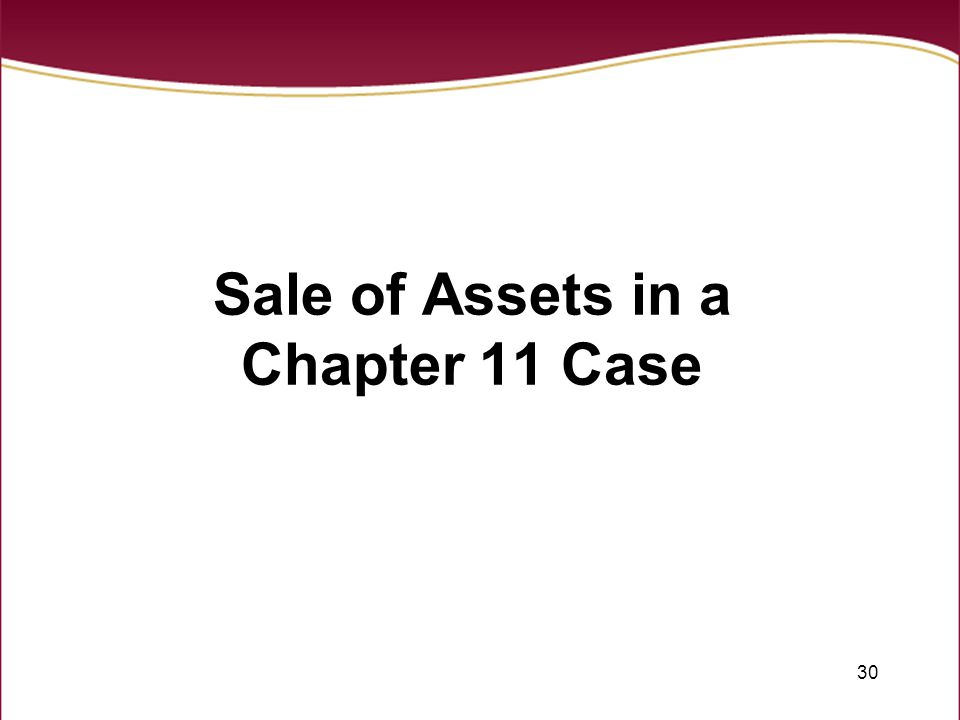 30 Sale of Assets in a Chapter 11 Case