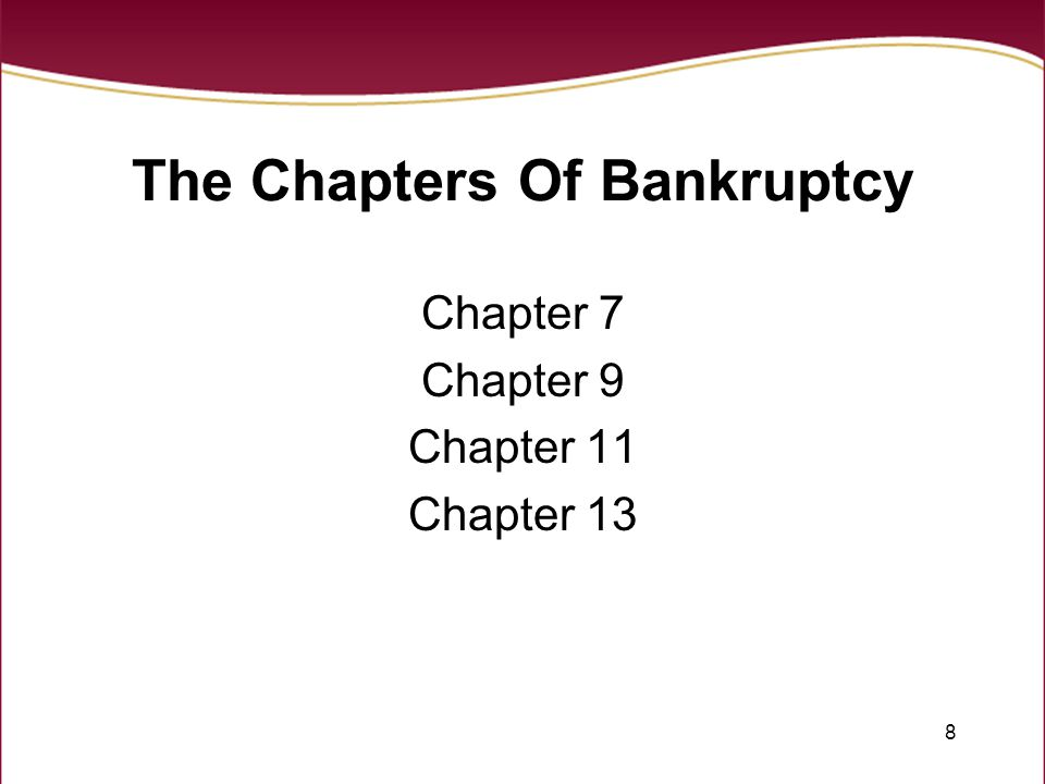8 The Chapters Of Bankruptcy Chapter 7 Chapter 9 Chapter 11 Chapter 13