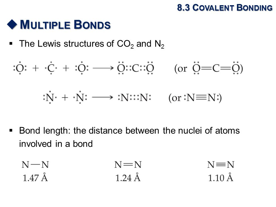  The Lewis structures of CO 2 and N 2 8.3 C OVALENT B ONDING  M ULTIPLE B ONDS  Bond length: the distance between the nuclei of atoms involved in a bond