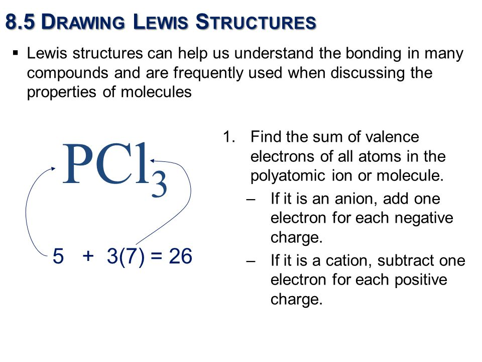1.Find the sum of valence electrons of all atoms in the polyatomic ion or molecule.