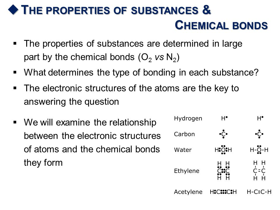  T HE PROPERTIES OF SUBSTANCES & C HEMICAL BONDS  The properties of substances are determined in large part by the chemical bonds (O 2 vs N 2 )  What determines the type of bonding in each substance.