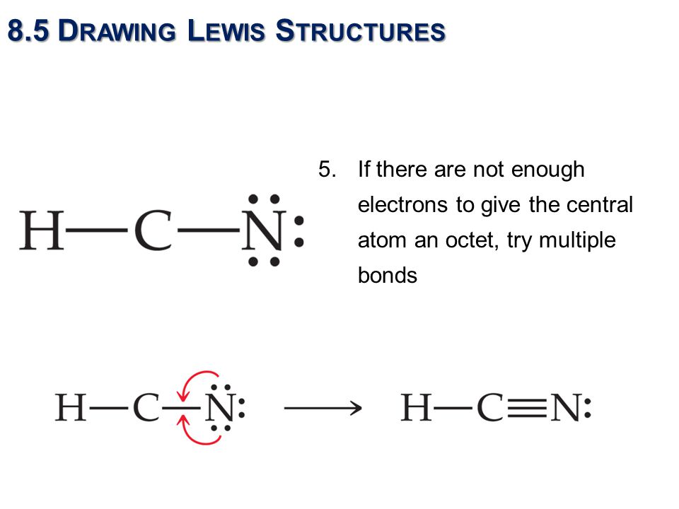 5.If there are not enough electrons to give the central atom an octet, try multiple bonds 8.5 D RAWING L EWIS S TRUCTURES