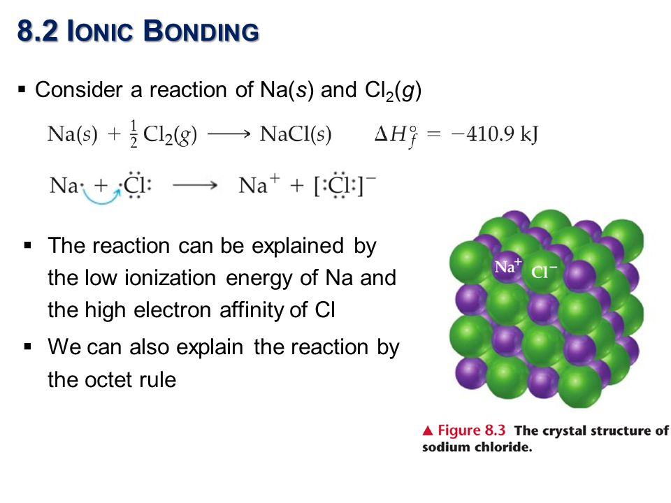 8.2 I ONIC B ONDING  The reaction can be explained by the low ionization energy of Na and the high electron affinity of Cl  We can also explain the reaction by the octet rule  Consider a reaction of Na(s) and Cl 2 (g)