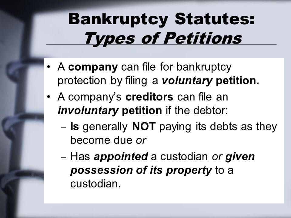 Bankruptcy Statutes: Creditors With Priority A special class of creditors created by the bankruptcy statutes is called creditors with priority. These creditors are given statutory priority over the claims of other unsecured creditors with regard to payment.