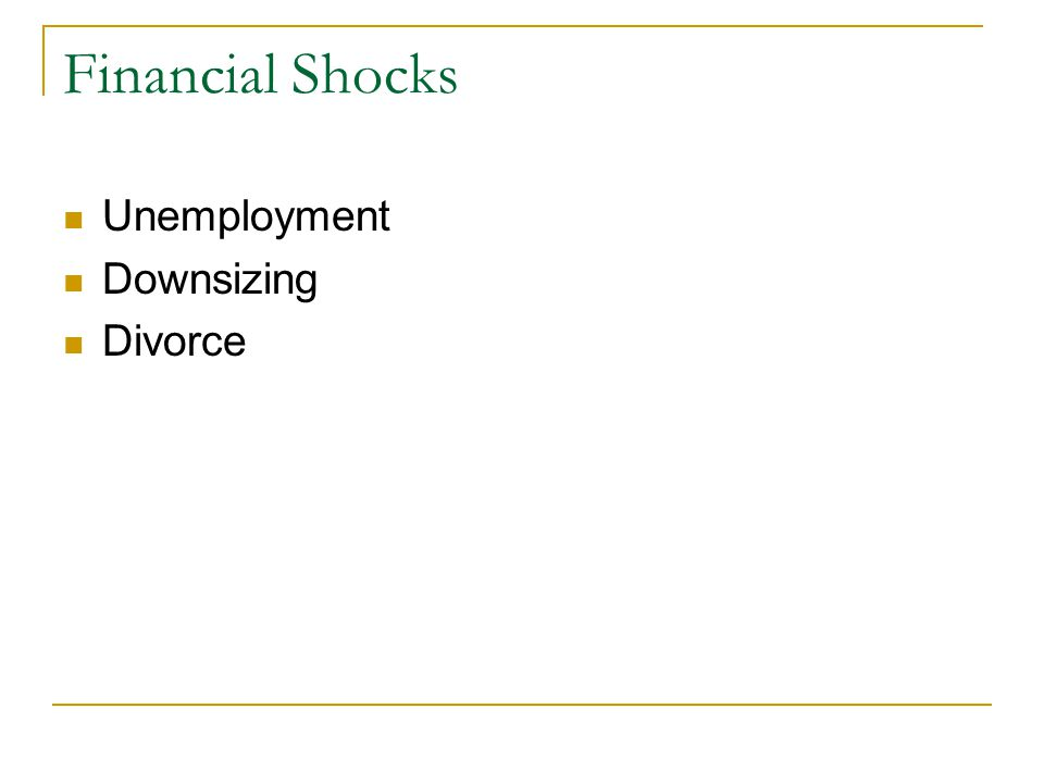 Financial Shocks Unemployment Downsizing Divorce