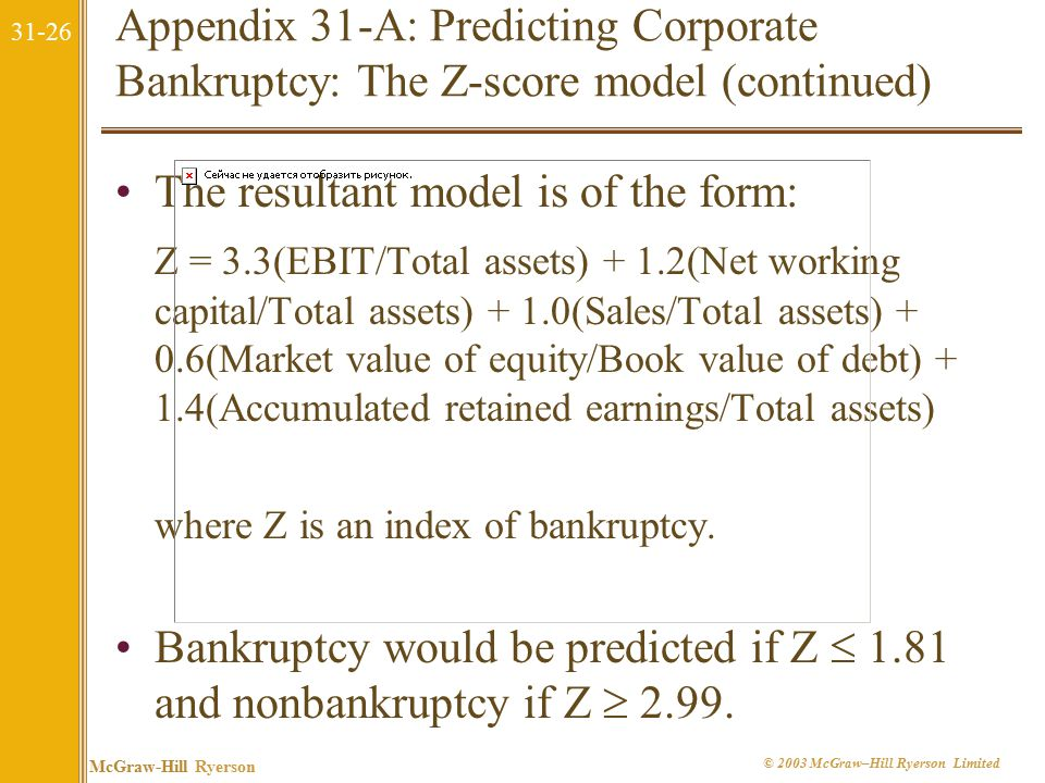 31-26 McGraw-Hill Ryerson © 2003 McGraw–Hill Ryerson Limited Appendix 31-A: Predicting Corporate Bankruptcy: The Z-score model (continued) The resultant model is of the form: Z = 3.3(EBIT/Total assets) + 1.2(Net working capital/Total assets) + 1.0(Sales/Total assets) + 0.6(Market value of equity/Book value of debt) + 1.4(Accumulated retained earnings/Total assets) where Z is an index of bankruptcy.