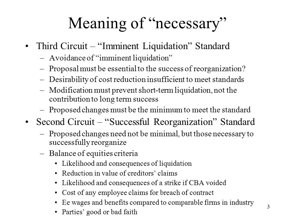 3 Meaning of necessary Third Circuit – Imminent Liquidation Standard –Avoidance of imminent liquidation –Proposal must be essential to the success of reorganization.