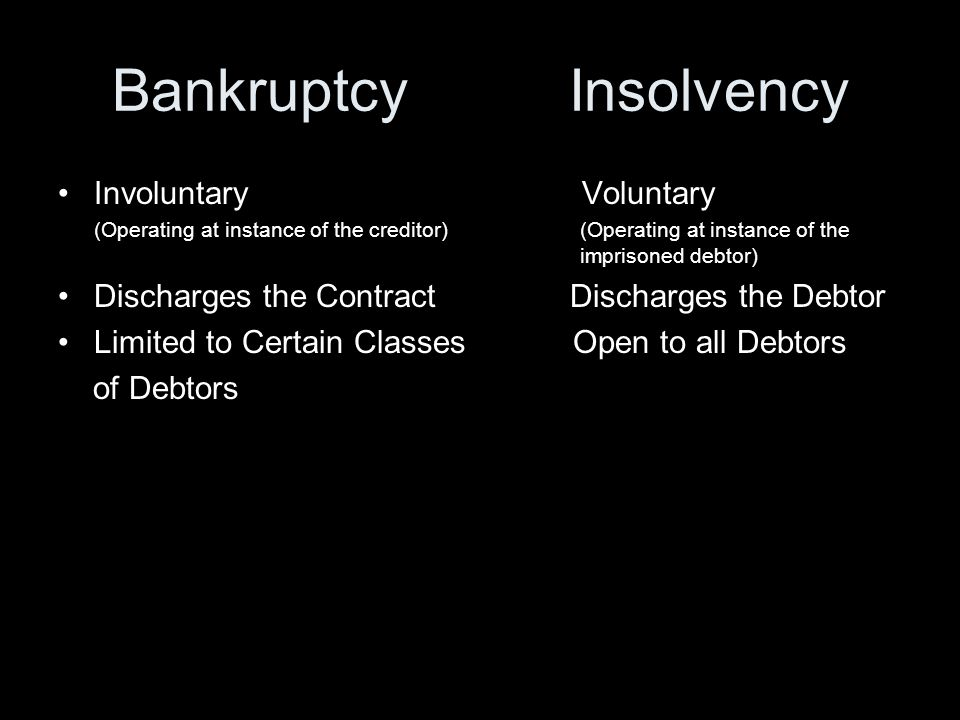 Bankruptcy Insolvency Involuntary Voluntary (Operating at instance of the creditor) (Operating at instance of the imprisoned debtor) Discharges the Contract Discharges the Debtor Limited to Certain Classes Open to all Debtors of Debtors