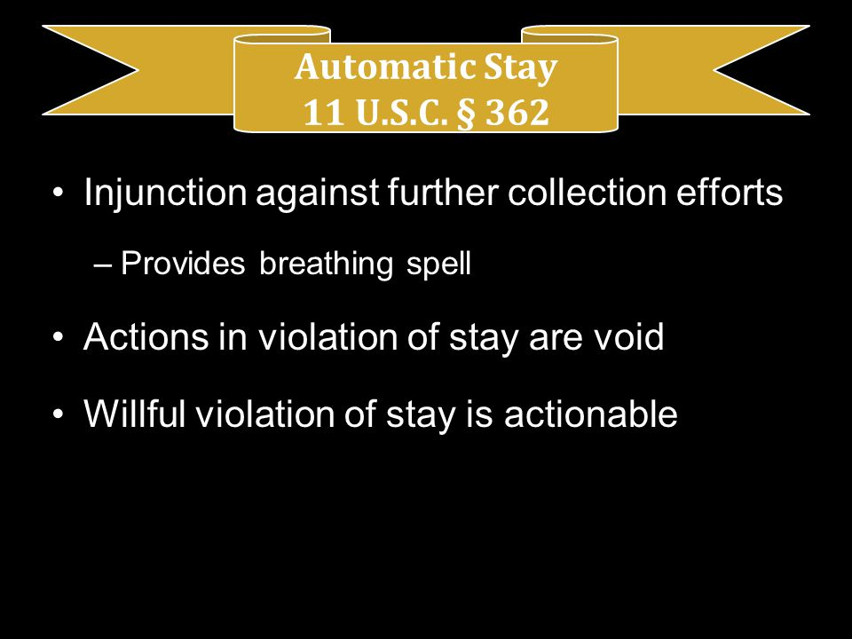 Injunction against further collection efforts –Provides breathing spell Actions in violation of stay are void Willful violation of stay is actionable Automatic Stay 11 U.S.C.