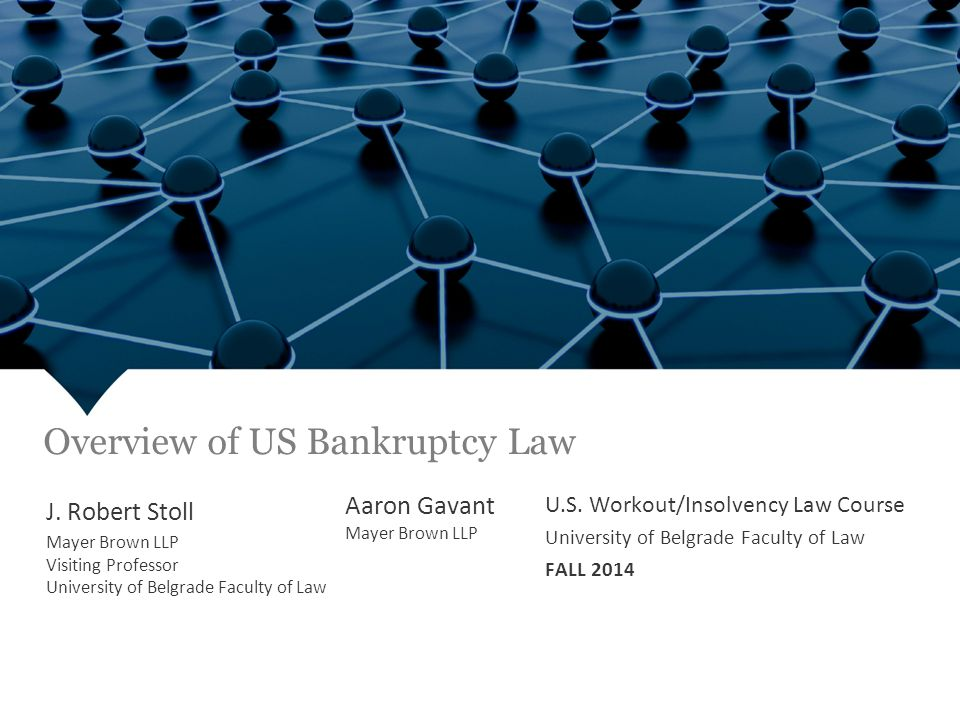 Overview of US Bankruptcy Law Chapter 9 Plan of Adjustment Fall 2013 J.