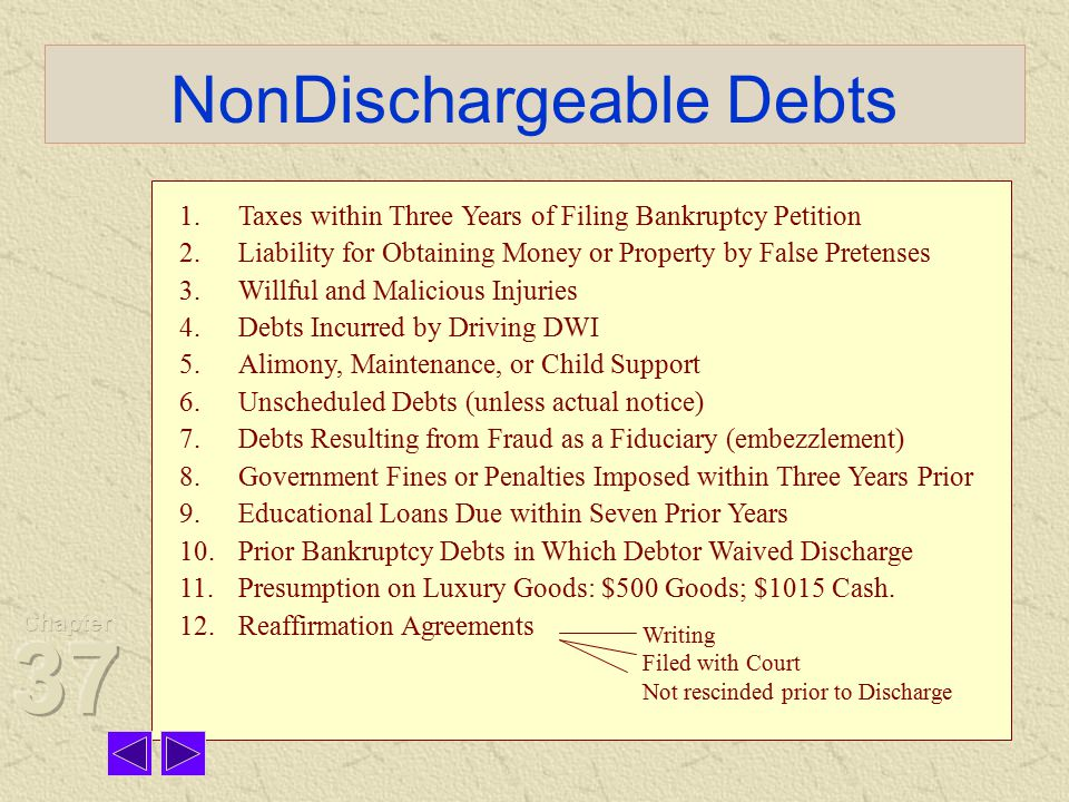 NonDischargeable Debts 1.Taxes within Three Years of Filing Bankruptcy Petition 2.Liability for Obtaining Money or Property by False Pretenses 3.Willful and Malicious Injuries 4.Debts Incurred by Driving DWI 5.Alimony, Maintenance, or Child Support 6.Unscheduled Debts (unless actual notice) 7.Debts Resulting from Fraud as a Fiduciary (embezzlement) 8.Government Fines or Penalties Imposed within Three Years Prior 9.Educational Loans Due within Seven Prior Years 10.Prior Bankruptcy Debts in Which Debtor Waived Discharge 11.Presumption on Luxury Goods: $500 Goods; $1015 Cash.