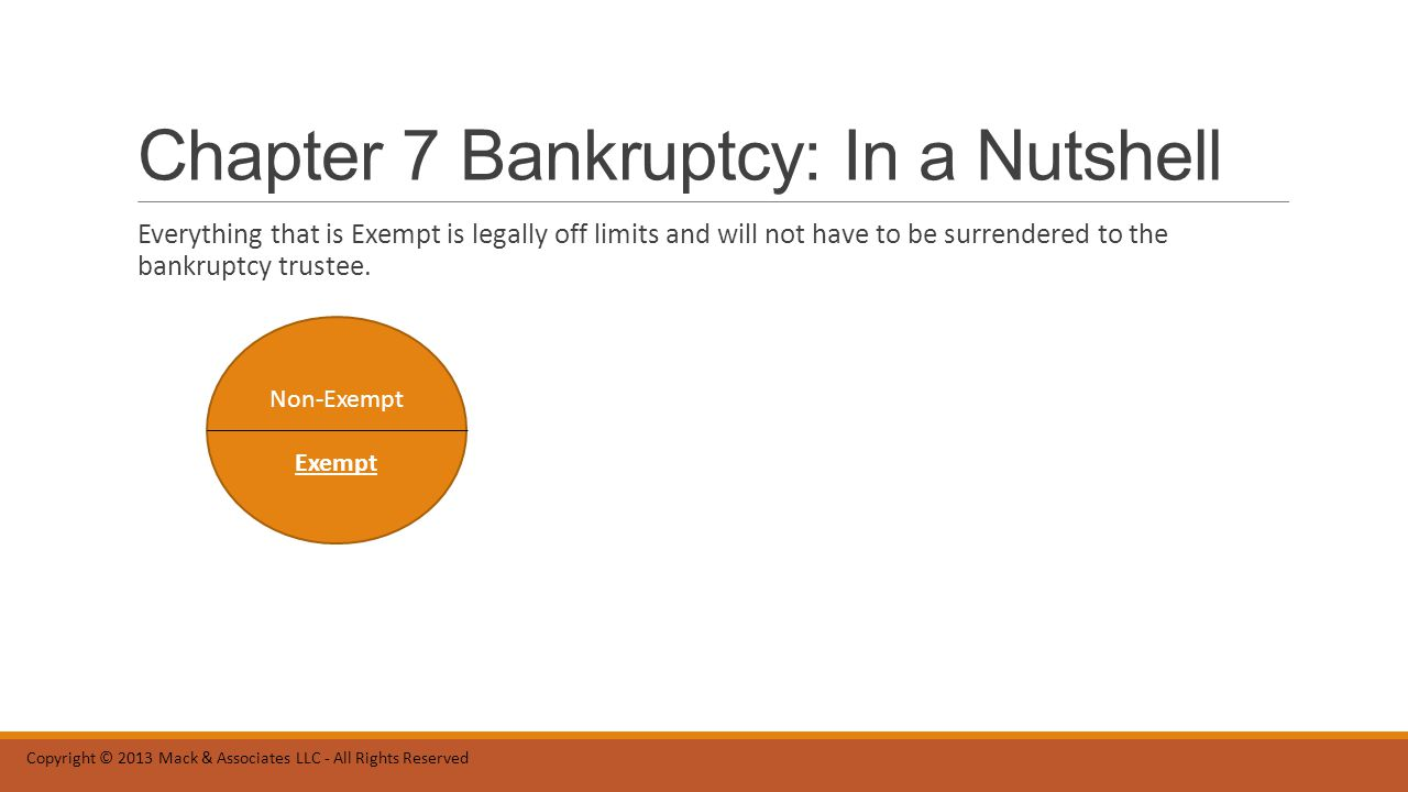 Chapter 7 Bankruptcy: In a Nutshell Everything that is Exempt is legally off limits and will not have to be surrendered to the bankruptcy trustee.