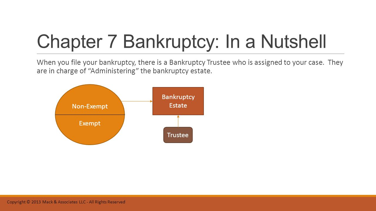 Chapter 7 Bankruptcy: In a Nutshell To Administer the Bankruptcy Estate essentially means to identify the Non-Exempt property and liquidate (i.e.
