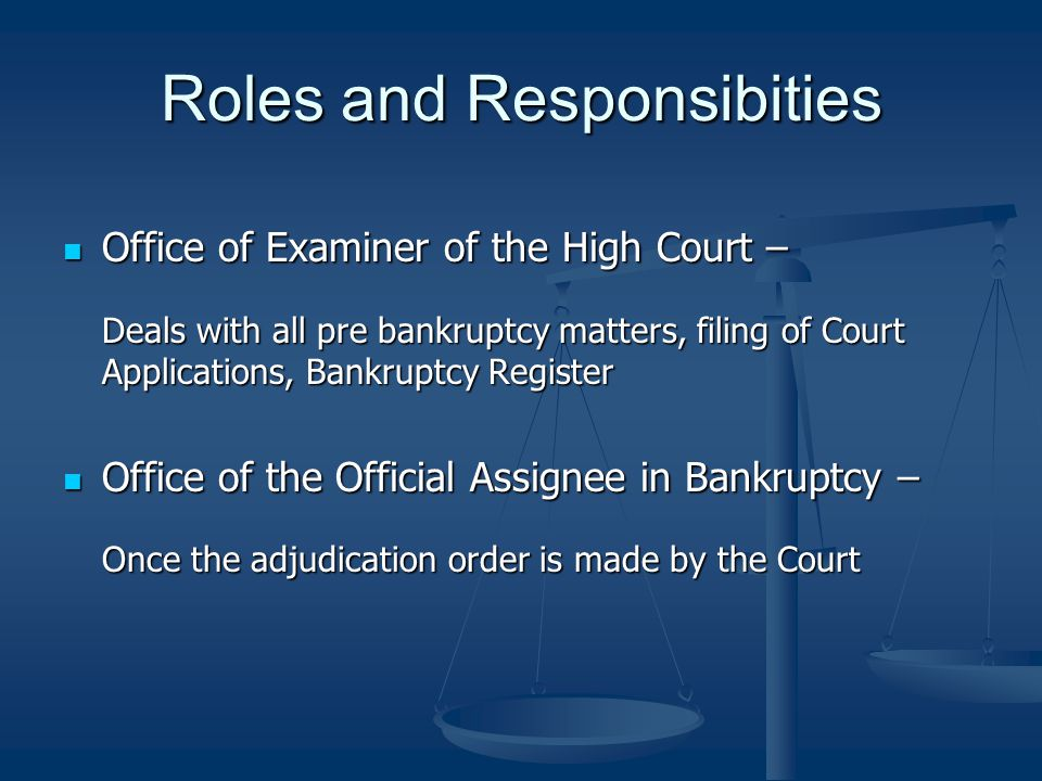 Roles and Responsibities Office of Examiner of the High Court – Office of Examiner of the High Court – Deals with all pre bankruptcy matters, filing o