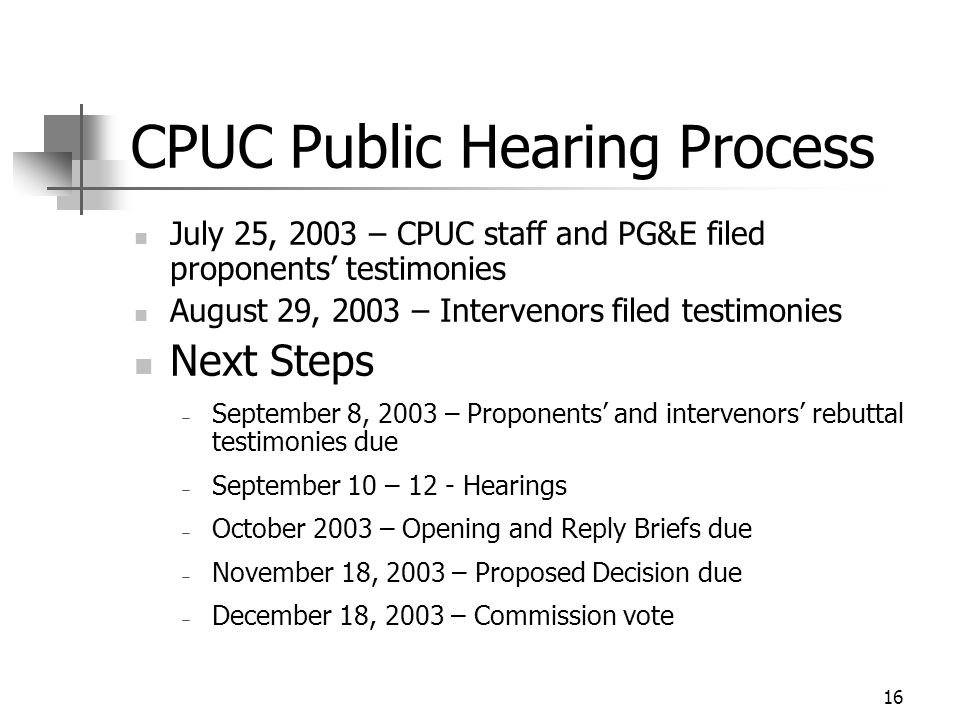 16 CPUC Public Hearing Process July 25, 2003 – CPUC staff and PG&E filed proponents' testimonies August 29, 2003 – Intervenors filed testimonies Next Steps  September 8, 2003 – Proponents' and intervenors' rebuttal testimonies due  September 10 – 12 - Hearings  October 2003 – Opening and Reply Briefs due  November 18, 2003 – Proposed Decision due  December 18, 2003 – Commission vote
