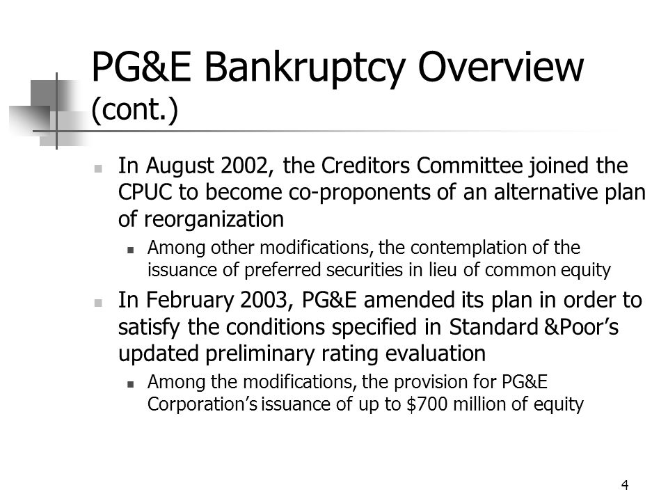 5 PG&E Bankruptcy Overview (cont.) In March 2003, the bankruptcy court ordered the parties into a judicially supervised settlement conference In June 2003, CPUC staff and PG&E agreed on a proposed settlement that will be brought before the CPUC in a formal and public hearing process
