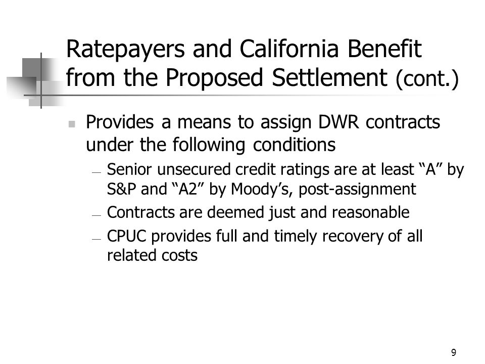 10 Terms of the Proposed Settlement PG&E abandons utility disaggregation Resolves energy-crisis related litigation Creditors paid in full Projected Sources and Uses of Funds at Emergence Sources of Funds (In $Millions)Uses of Funds (In $Millions) Available Cash $2,365Estimated Allowed Claims $13,700 New Long-Term Debt $7,681Claims paid during the Short-Term Debt $500bankruptcy case pursuant to ($1,564) Reinstated Debt $1,160Court orders and other Reinstated Preferred Stock $430 Total Sources of Funds $12,136Total Uses of Funds $12,136