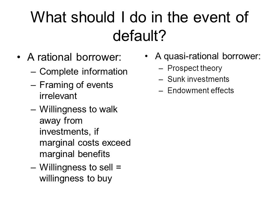 What should I do in the event of default.