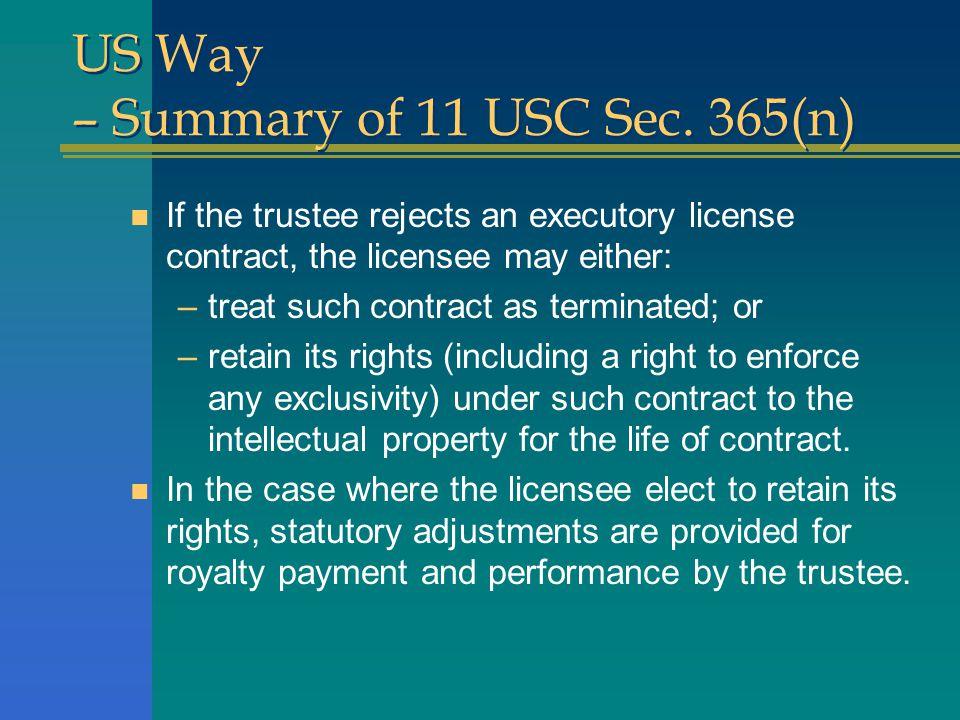 US Way – Summary of 11 USC Sec.