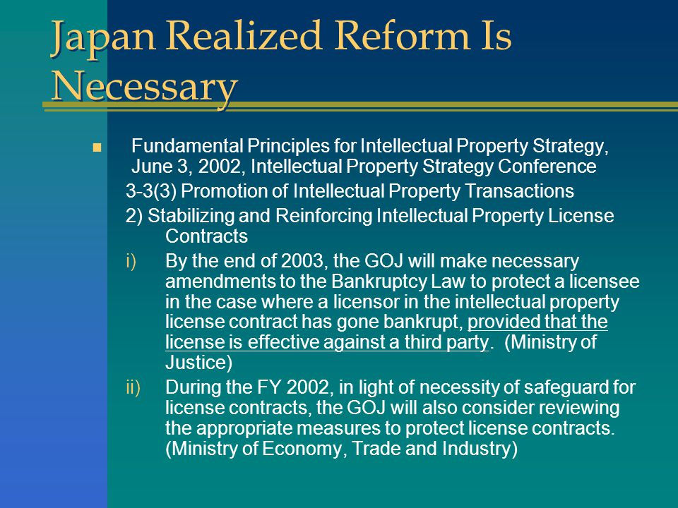 Japan Realized Reform Is Necessary n Fundamental Principles for Intellectual Property Strategy, June 3, 2002, Intellectual Property Strategy Conferenc
