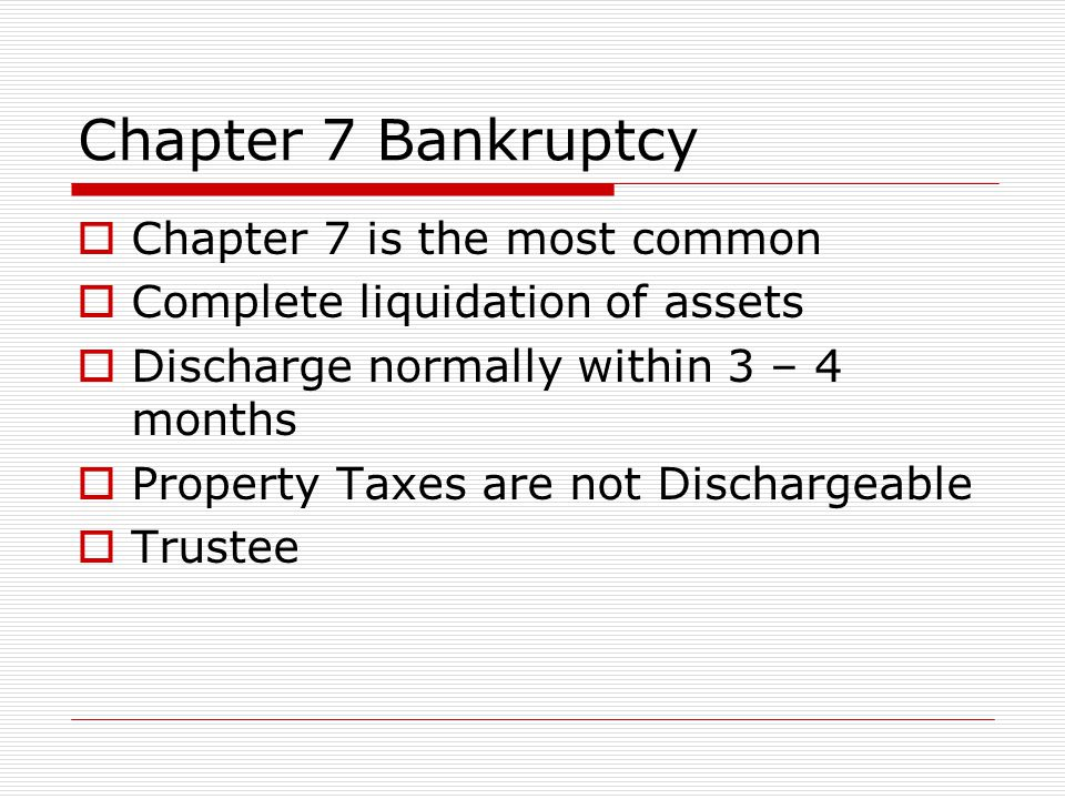 Chapter 13  Chapter 13 is the reorganization of debt.