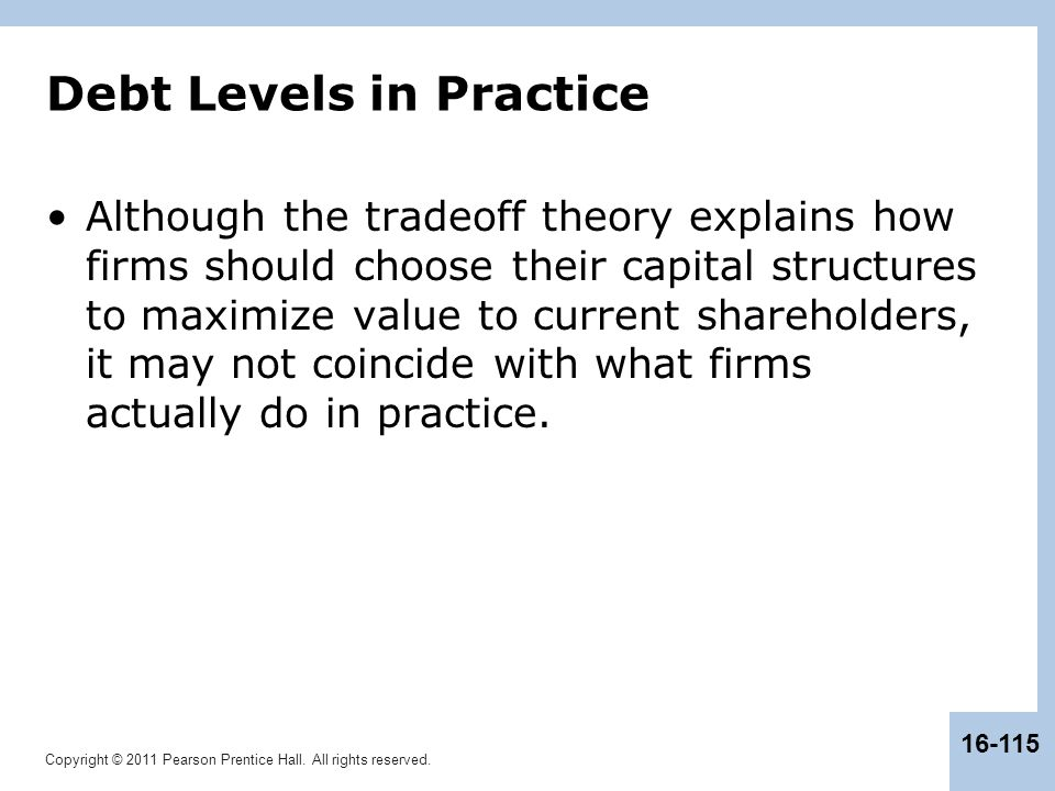 Copyright © 2011 Pearson Prentice Hall. All rights reserved. 16-115 Debt Levels in Practice Although the tradeoff theory explains how firms should cho