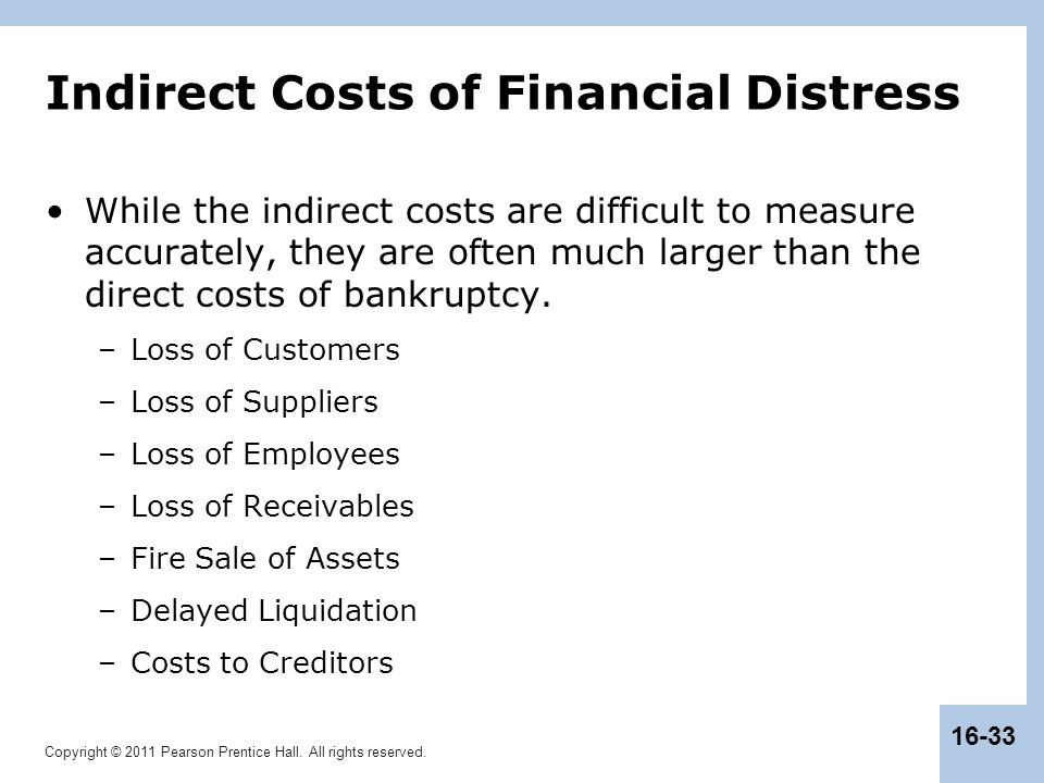 Copyright © 2011 Pearson Prentice Hall. All rights reserved. 16-33 Indirect Costs of Financial Distress While the indirect costs are difficult to meas
