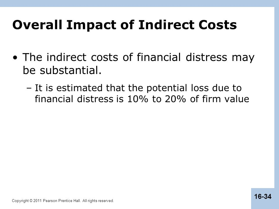 Copyright © 2011 Pearson Prentice Hall. All rights reserved. 16-34 Overall Impact of Indirect Costs The indirect costs of financial distress may be su