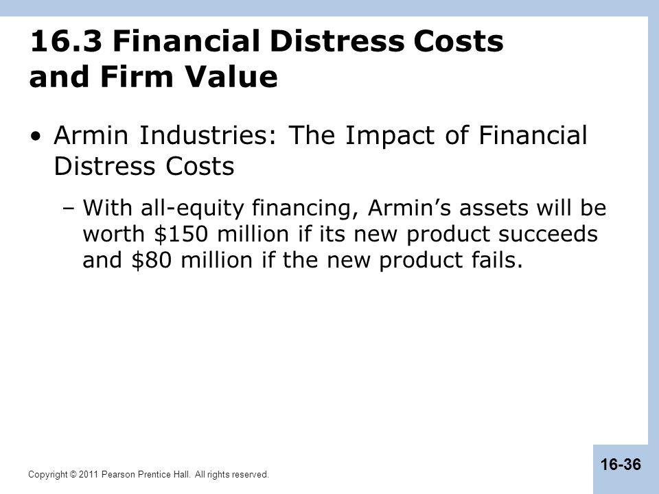 Copyright © 2011 Pearson Prentice Hall. All rights reserved. 16-36 16.3 Financial Distress Costs and Firm Value Armin Industries: The Impact of Financ