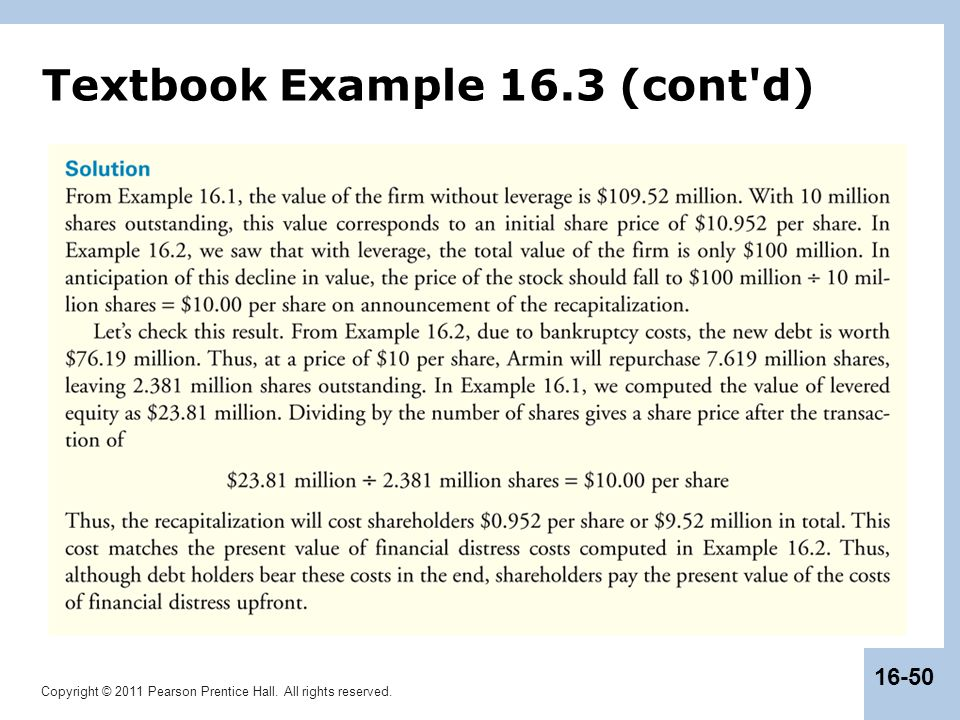 Copyright © 2011 Pearson Prentice Hall. All rights reserved. 16-50 Textbook Example 16.3 (cont'd)