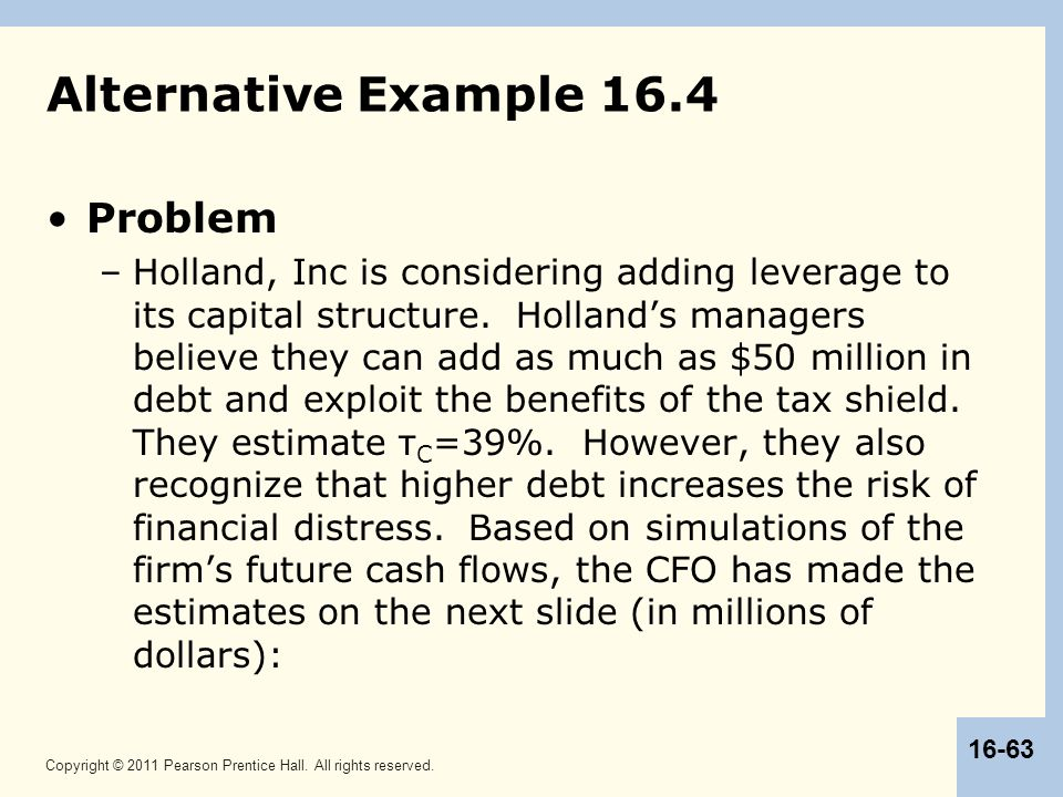 Copyright © 2011 Pearson Prentice Hall. All rights reserved. 16-63 Alternative Example 16.4 Problem –Holland, Inc is considering adding leverage to it