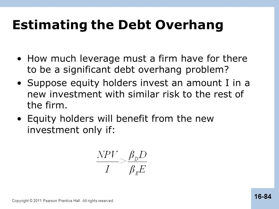 Copyright © 2011 Pearson Prentice Hall. All rights reserved. 16-84 Estimating the Debt Overhang How much leverage must a firm have for there to be a s