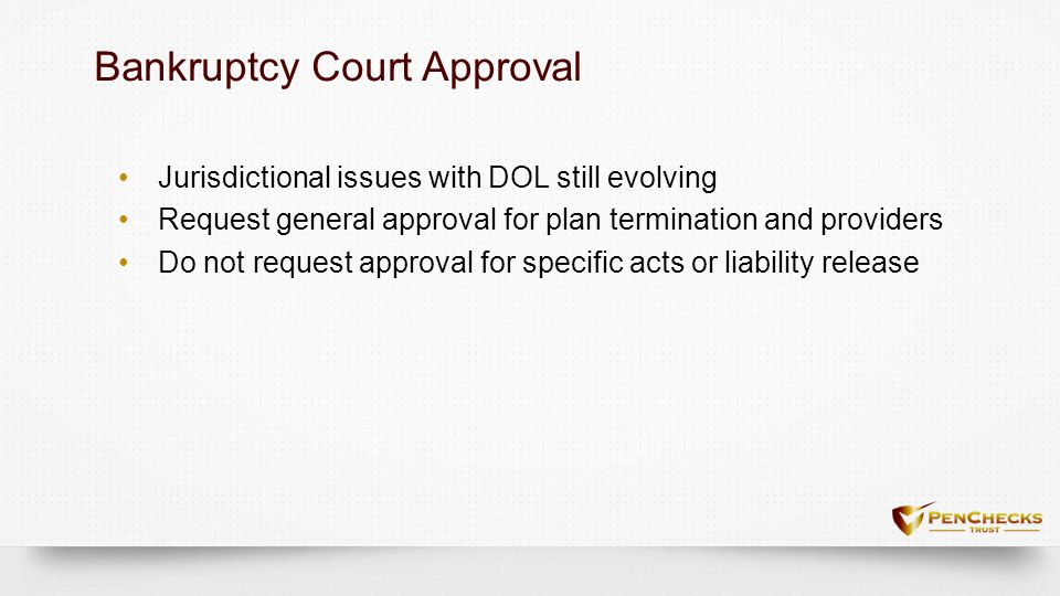Bankruptcy Court ApprovalBankruptcy Court Approval Jurisdictional issues with DOL still evolving Request general approval for plan termination and pro